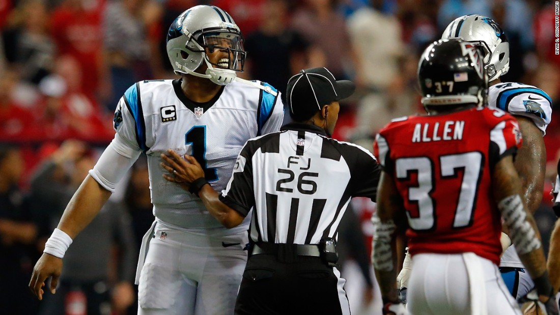 Carolina quarterback Cam Newton, left, reacts to a play during an NFL game in Atlanta on Sunday, December 27. Newton and the Panthers lost for the first time this season, falling to 14-1.