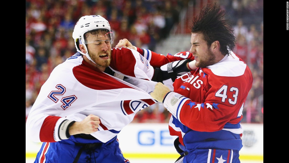 Montreal's Jarred Tinordi, left, fights Washington's Tom Wilson during an NHL game in Washington on Saturday, December 26.