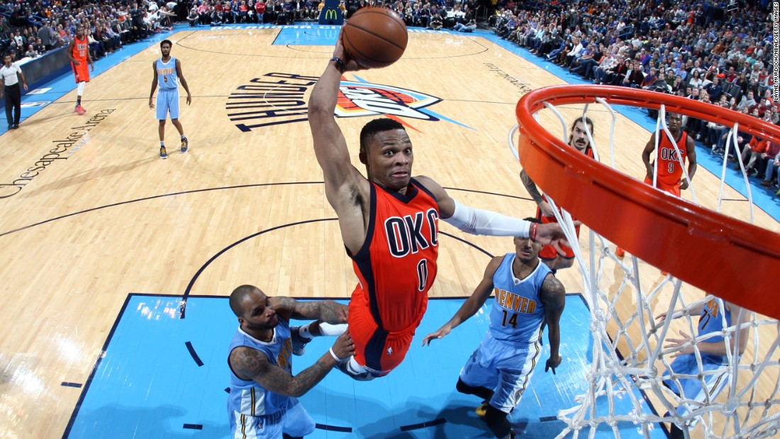 Oklahoma City guard Russell Westbrook throws down a dunk against Denver on Sunday, December 27.