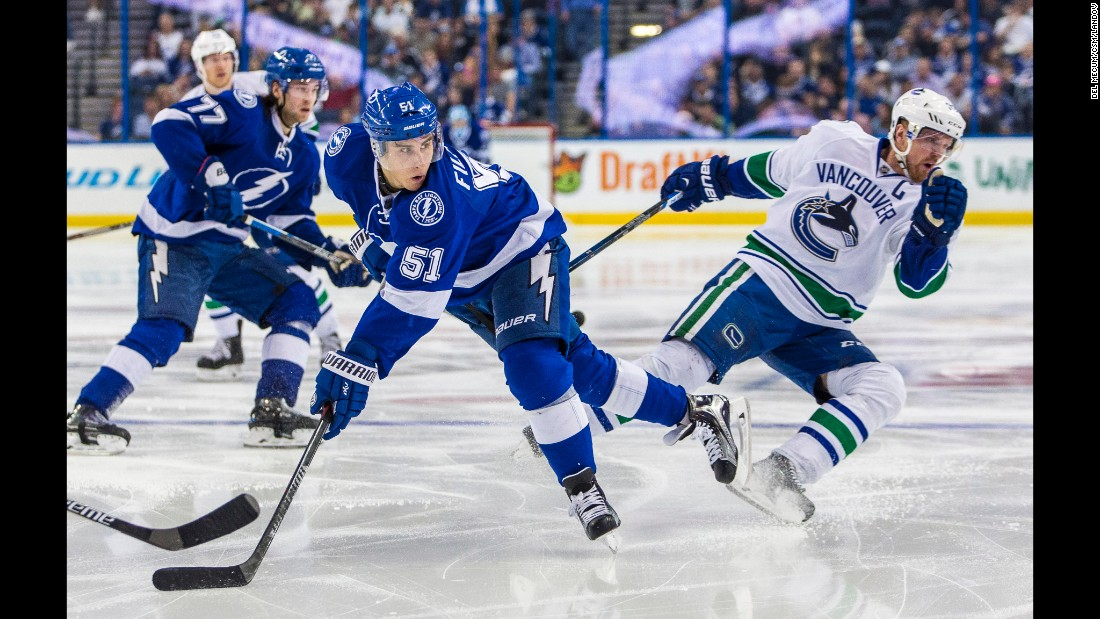 Tampa Bay center Valtteri Filppula (No. 51) looks for a pass during an NHL game against Vancouver on Tuesday, December 22.