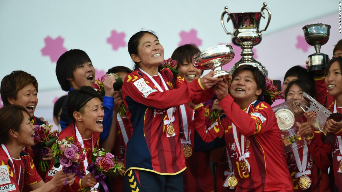 INAC Kobe Leonessa, a women's soccer team from Kobe, Japan, lifts the Empress's Cup after winning the tournament final in Kawasaki, Japan, on Sunday, December 27.