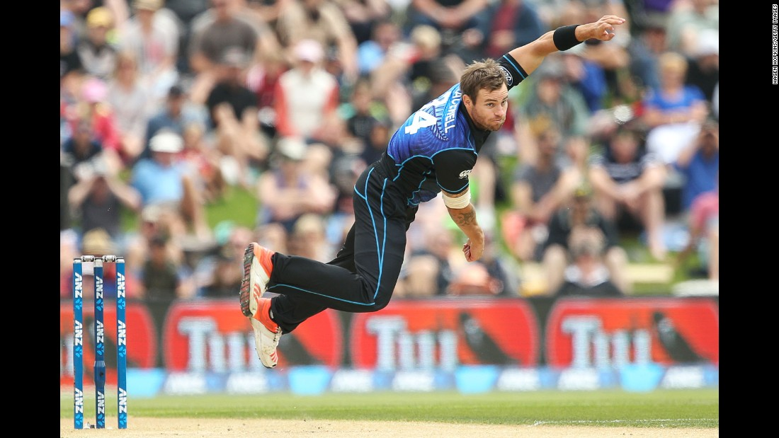 New Zealand's Doug Bracewell bowls against Sri Lanka during a One Day International cricket match on Monday, December 28. New Zealand won by 10 wickets.