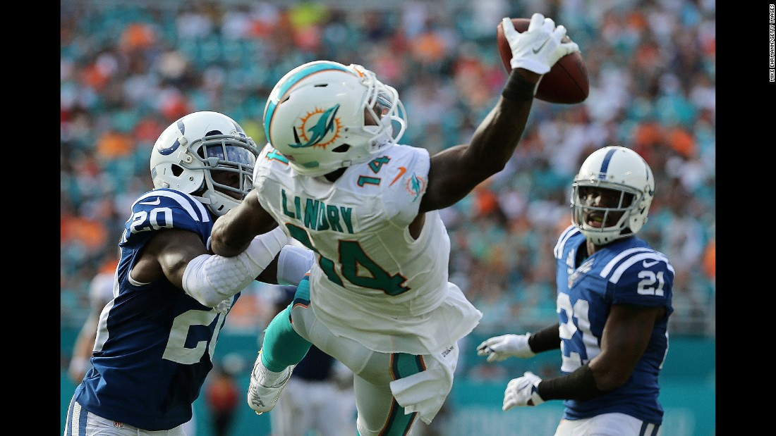 Miami wide receiver Jarvis Landry makes a spectacular one-handed catch against Indianapolis during an NFL game in Miami Gardens, Florida, on Sunday, December 27.