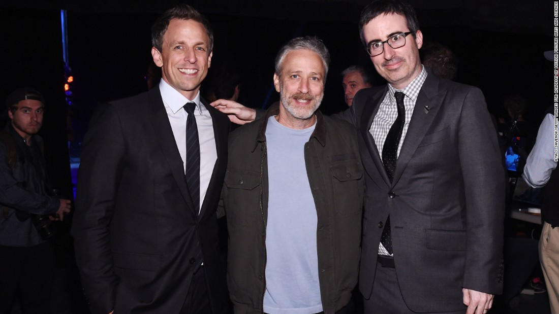 "Jon Stewart, center, is one of the most recognized faces in comedy, having hosted the popular satire show ""The Daily Show"" on Comedy Central. His net worth is estimated to be about $80 million."