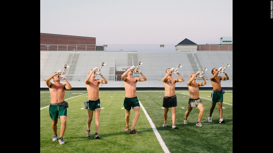 Trumpet players from Madison Scouts Drum & Bugle Corps rehearse their formations.