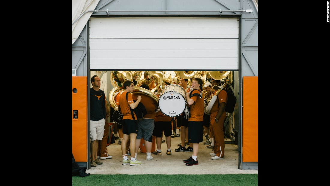 The University of Texas Longhorn Band prepares for practice at the Longhorn practice field.