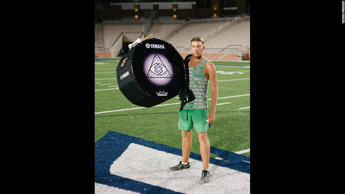 Josh Cooper plays bass drum in the Cavaliers Drum & Bugle Corps.