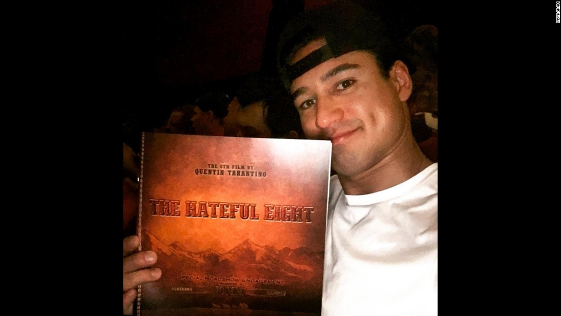 "Television host Mario Lopez holds up a program for ""The Hateful Eight"" on Monday, December 28. ""Intermission... This movie is a marathon but I love it so far!"" <a href=""https://www.instagram.com/p/_3PVeqyMN3/?taken-by=mariolopezextra"" target=""_blank"">Lopez said on Instagram.</a>"