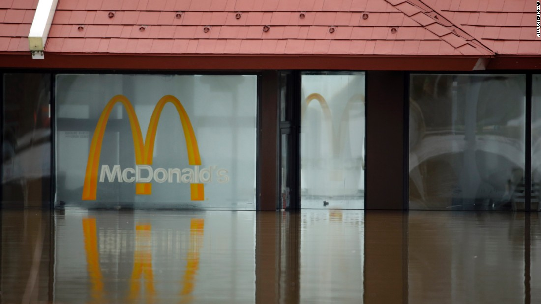 Water from the Bourbeuse River floods a McDonald's in Union, Missouri, on December 29.