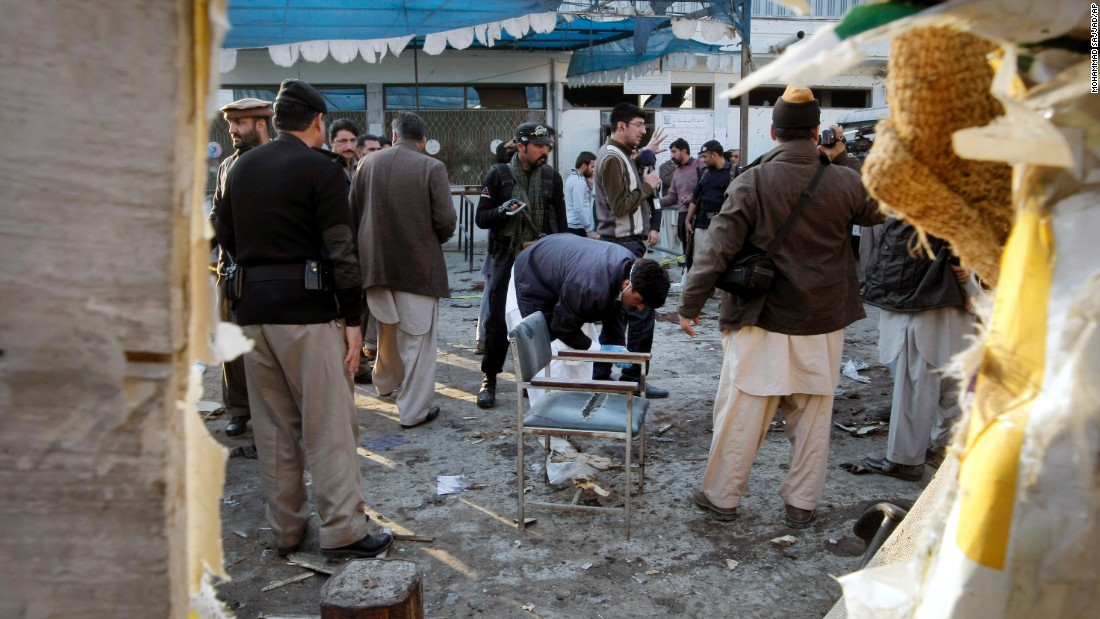 A suicide bomber blew himself up outside a government office in the northwestern Pakistani city of Mardan on Tuesday, Dec. 29, 2015.
