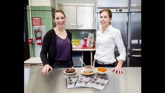 Dietitians Adrienne Hatch, left, and Holly McClung are trying to improve upon battlefield food rations.