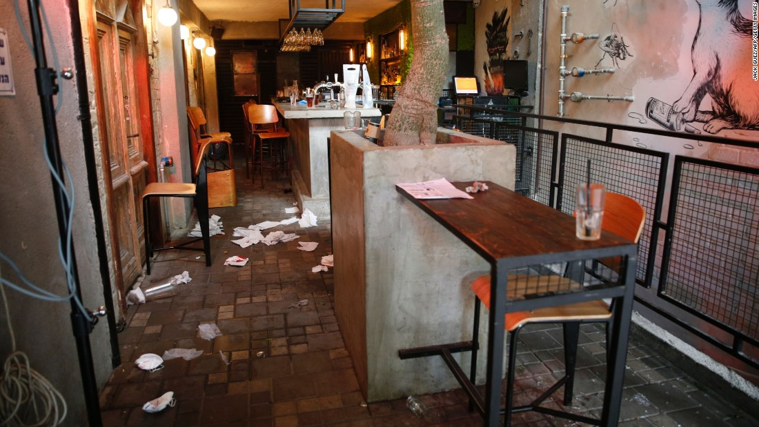 The inside of the pub is seen after the shooting.