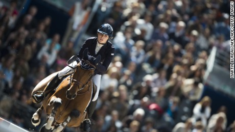 "Britain's Jessica Mendoza rides Sam De Bacon  as she competes on April 12, 2015 in the International Jumping Competition ""Les Talents Hermes"" at The Grand Palais in Paris. AFP PHOTO MARTIN BUREAU        (Photo credit should read MARTIN BUREAU/AFP/Getty Images)"
