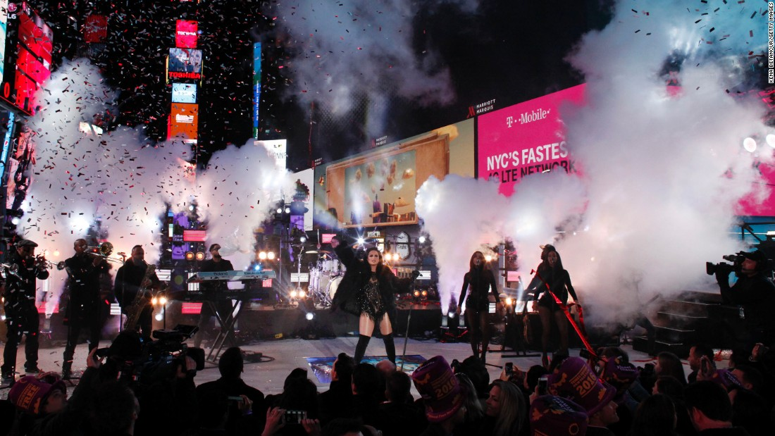 Pop singer Demi Lovato performs at the Times Square countdown in New York City.
