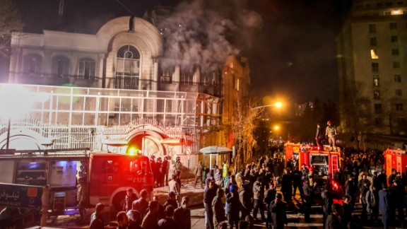 Protesters set fire to the Saudi Embassy in Tehran, Iran, on Saturday, January 2, during a demonstration against the execution of prominent Shiite Muslim cleric Nimr al-Nimr by Saudi authorities. Nimr was a driving force of the protests that broke out in 2011 in Saudi Arabia