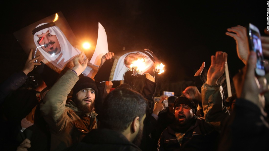 "Iranian protesters gather outside the Saudi Embassy in Tehranon January 2. Saudi Arabia said it executed ""terrorists"" and told Iran to stay out of its internal affairs."
