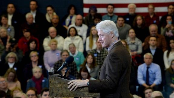 Former U.S. President Bill Clinton campaigns for his wife, Democratic presidential candidate Hillary Clinton, at Nashua Community College on January 4, 2016, in Nashua, New Hampshire.
