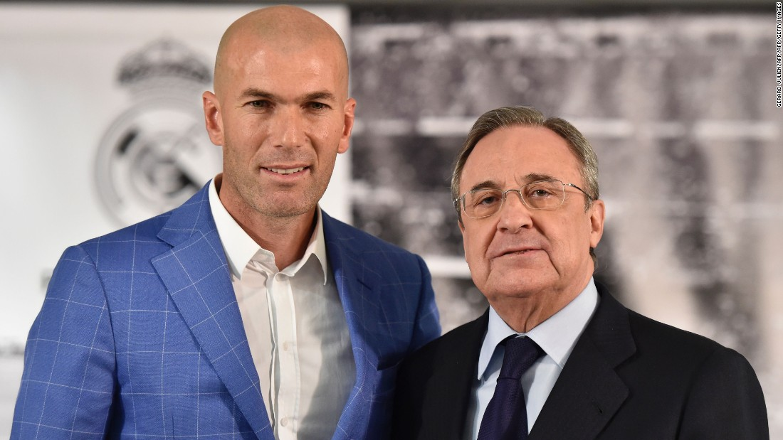 Zinedine Zidane (L) poses with Real Madrid's president Florentino Perez on Monday. The Frenchman becomes the 11th coach to serve under Perez.