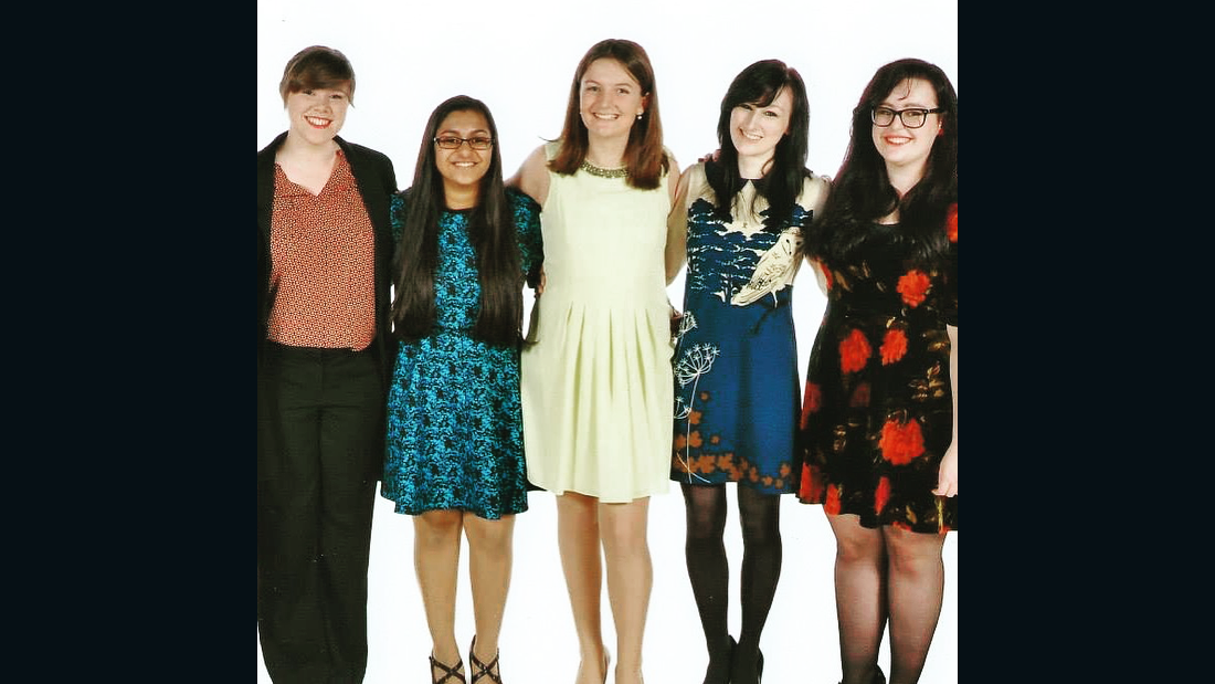 Gough credits her circle of close friends as well as her YouTube viewers with helping her deal with the disorder. Pictured are her friends from college: Emily, Ishani, Sophie and Caitlin (with Gough second from right; last names withheld) in November 2014.