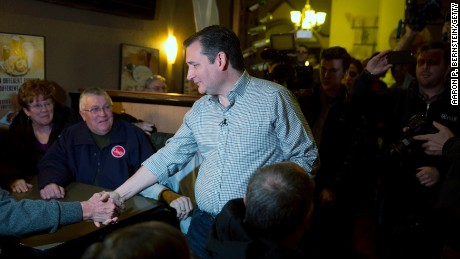 Ted Cruz greets supporters at Charlie's Steakhouse on January 4, 2016, in Carroll, Iowa.