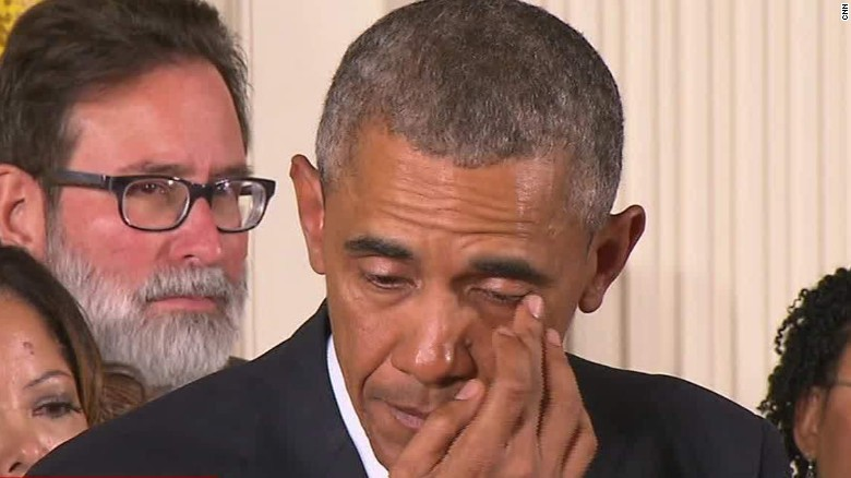 President Obama sheds tears during gun speech