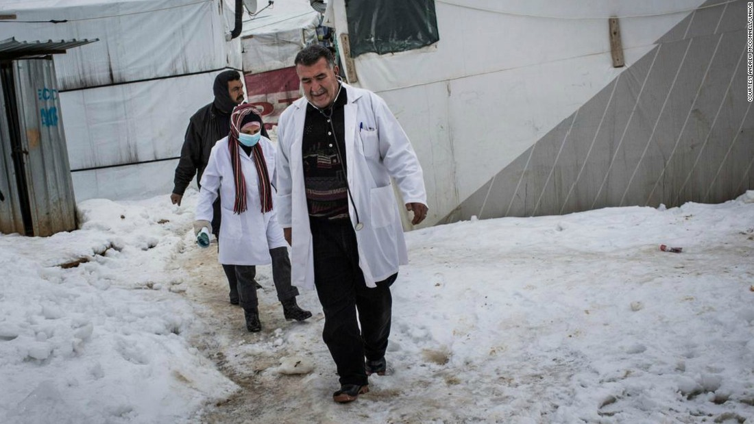 Researchers at the London School of Hygiene and Tropical Medicine are trialling a form of informal humanitarian assistance through a network of skilled refugee informants providing basic primary care and conduct health assessments ready to inform Lebanese health teams when they visit. Pictured, a doctor and nurse visit a family in Dilhamye tented settlement in Bekaa Valley, Lebanon.