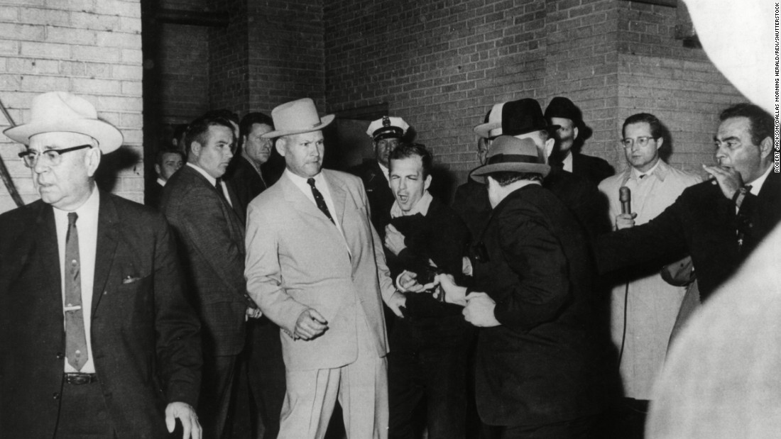 Photographer Robert Jackson was waiting in the basement of the Dallas city jail on November 24, 1963, when Jack Ruby, right foreground, fatally shot Lee Harvey Oswald as he was being transferred to the county jail. The photo won the Pulitzer Prize in 1964. Jackson used a Nikon camera with a 35mm lens with Kodak film.