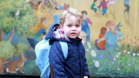 The prince poses for a picture taken by his mother on his first day of nursery school in January 2016.