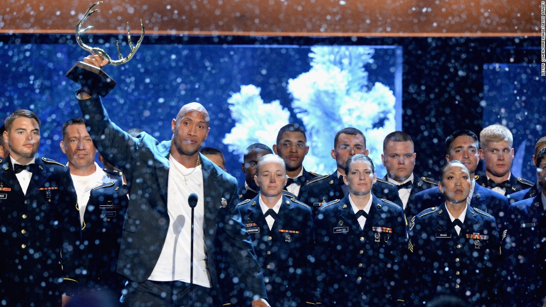 "Johnson had members of the US military join him onstage at Spike's 2015 Guys Choice Awards, where he received the Hero Award. His special, ""Rock the Troops,"" was to air in December 2016."