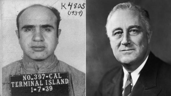 A mug shot for Al Capone, left, and President Franklin D. Roosevelt, right