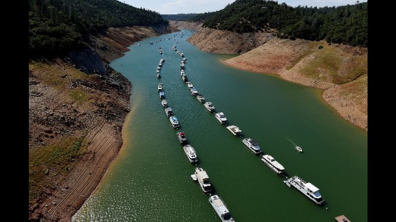 Houseboats are moored on a shrinking arm of the Oroville Lake reservoir as the ongoing drought, which is now in its fourth year, has left it at only one-quarter full. As much as 97% of the state of California ended 2015 in drought conditions and the critical Sierra snowpack measured as low as 5% of normal during the year.