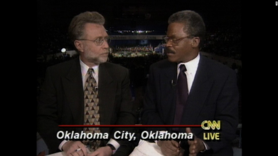 "CNN's Bernard Shaw with Wolf Blitzer, reporting on the Oklahoma City bombing. ""I remember vividly when we went to Oklahoma City in 1995 after the bombing of the federal office building there. He anchored our special coverage around President Clinton's participation in the memorial service. I joined him to report and provide analysis."""