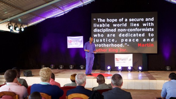 Ouko, speaking at TEDxKamitiPrison, discussing his inspirations and his anti-crime initiaitive.