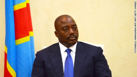 Democratic Republic of Congo's President Joseph Kabila pictured at a meeting with his Angola's counterpart on January 19, 2015 in Kinshasa.