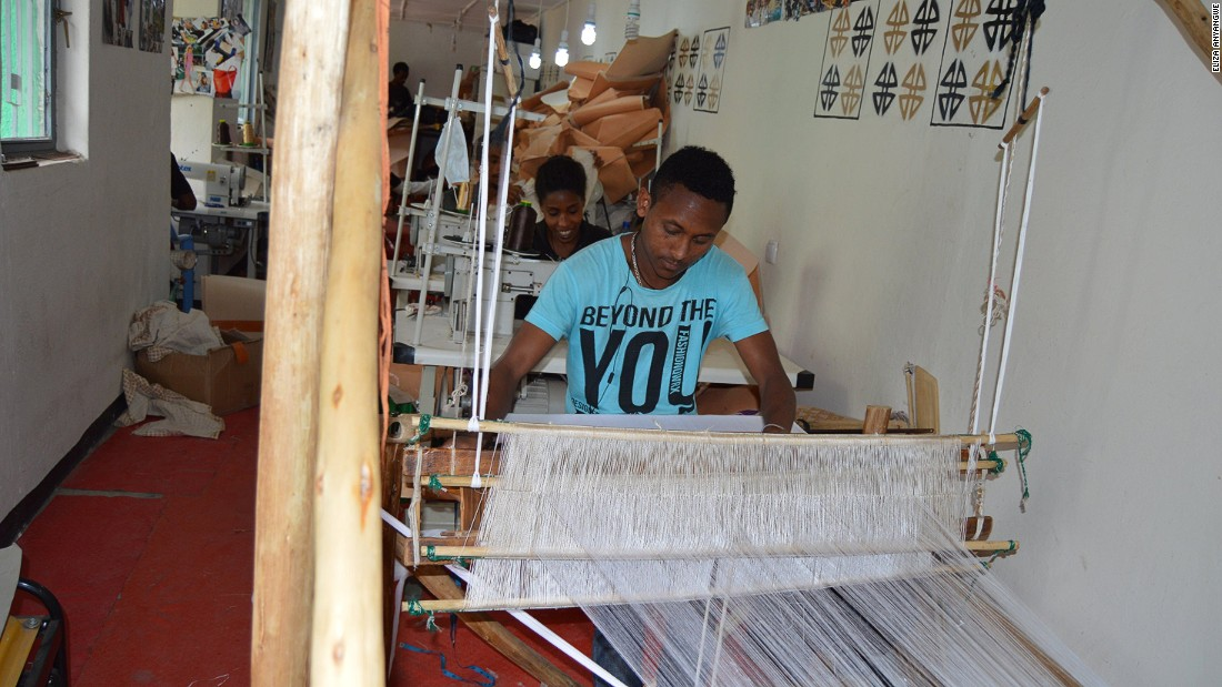 Weavers producing fabrics for Zaaf's bags. Schulze explains that as the brand grew so did local demand or her bags which she had initially marketed internationally. This prompted her to open a boutique in Addis Ababa.