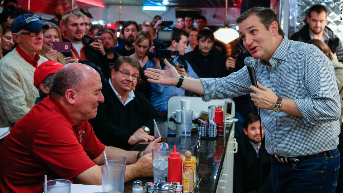 Ted Cruz campaigns for the Republican presidential nomination at Penny's Diner in Missouri Valley, Iowa, on Monday, January 4.