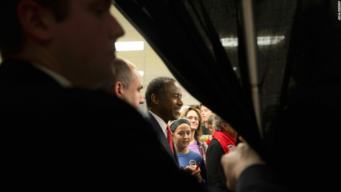 Republican presidential candidate Ben Carson shakes hands with supporters at a town hall in Panora, Iowa, on Wednesday, January 6.