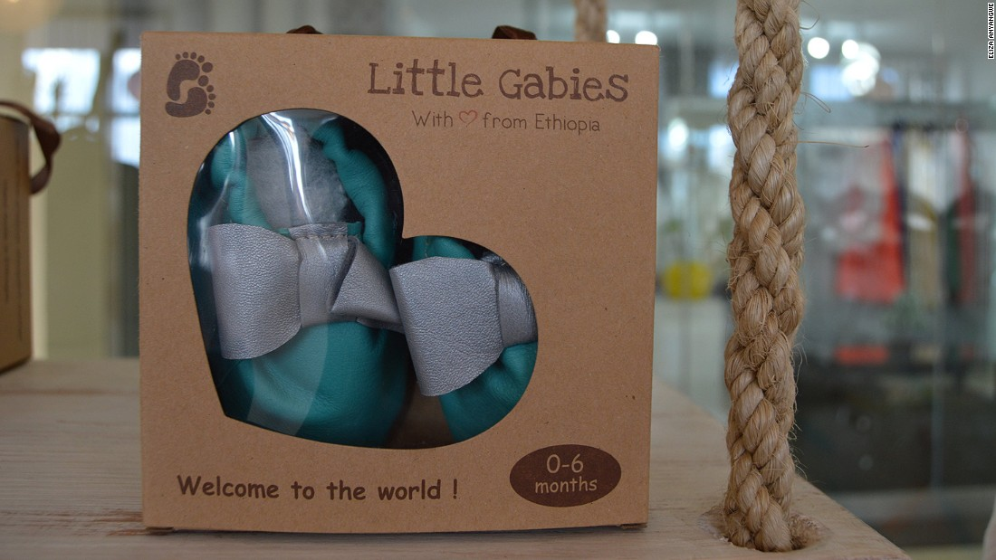 A pair of baby shoes made from leather on sale at Little Gabies. The boutique caters for children aged 0-2.