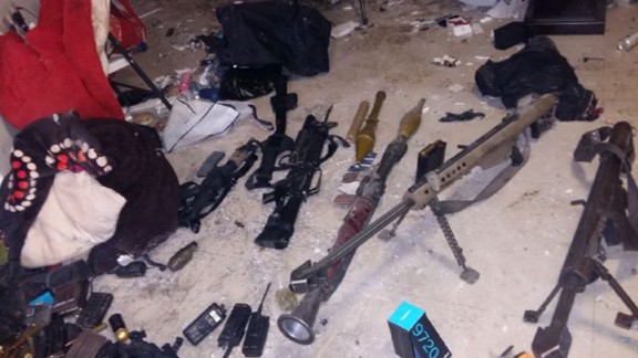 Mexican authorities provided this image of weapons seized in the raid to recapture Guzman.
