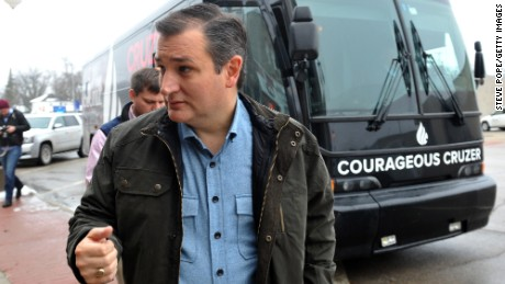 Republican presidential candidate U.S. Sen. Ted Cruz (R-TX)  from Texas and 2016 presidential candidate, arrives at a campaign stop on his 'Cruzin to Caucus' bus tour on January 7, 2016 in Humboldt, Iowa.
