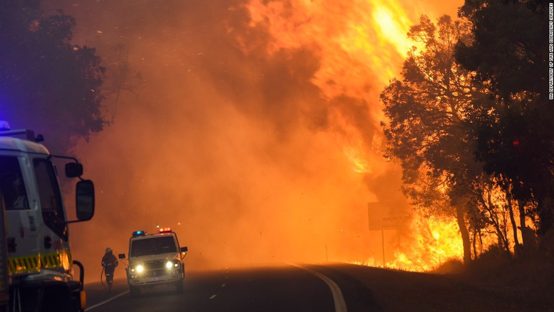 At least 95 buildings were destroyed in the town of Yarloop, south of the state capital of Perth. Emergencies were declared in the nearby towns of Waroona and Harvey.