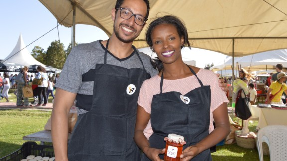 BHoney founders Selome Gedle Wasse and Gideon Abate. They keep their own bees then infuse the honey with natural ingredients such as ginger and orange.