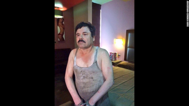 """This image provided by the Mexican government shows Joaquin """"El Chapo"""" Guzman after his capture in January 2016."""