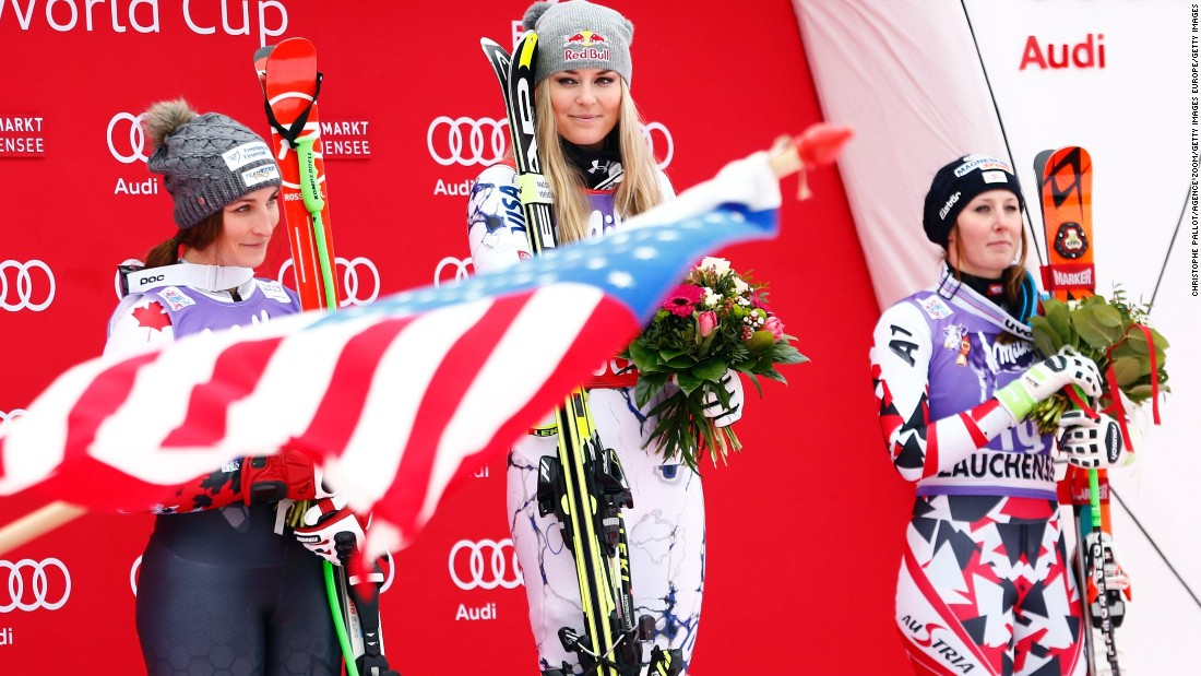 Vonn stands proudly atop the podium in Zauchensee and will be looking to add to her overall race win record in Sunday's super-G at the same venue.