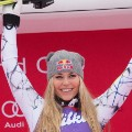 Lindsey Vonn celebrates podium