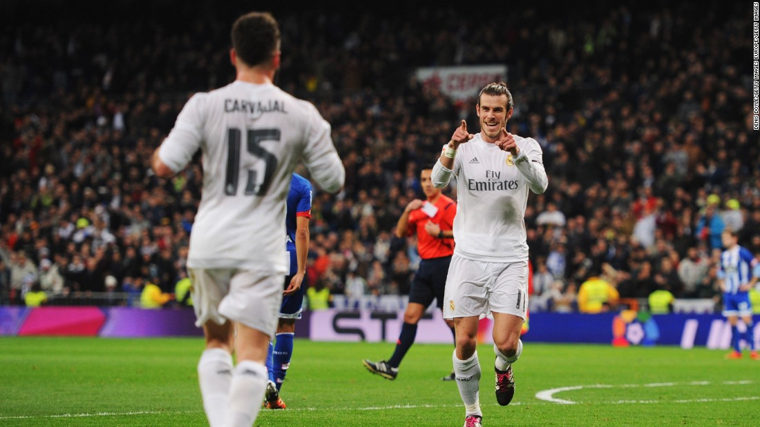 Gareth Bale (R) celebrates scoring Real's second goal of the night shortly after.