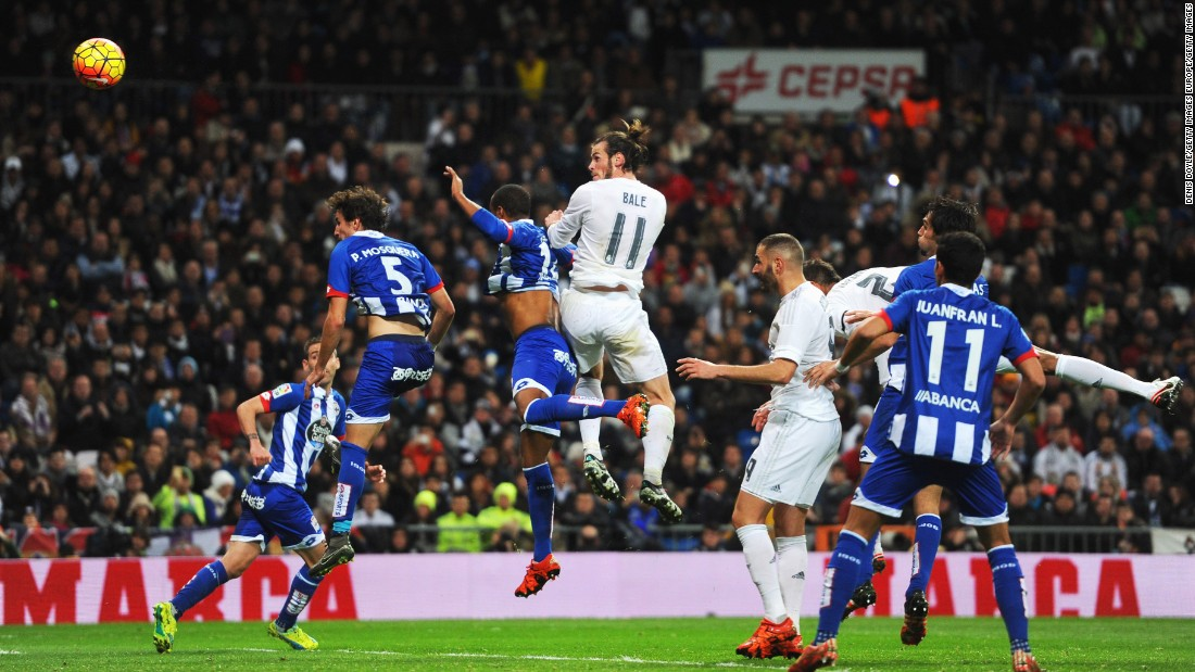 Welshman Bale would go on to score a aht-trick in the 5-0 rout, the third a thumping header from a Toni Kroos corner.