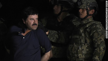 "Drug kingpin Joaquin ""El Chapo"" Guzman in custody on January 8, 2016."