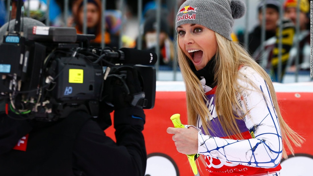 Never camera shy. Lindsey Vonn reacts to clinching her 73rd World Cup win with a super-G success at Altenmarkt-Zauchensee in Austria following on from her downhill win the day before.
