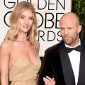 golden globes red carpet 2016 - Rosie Huntington-Whiteley and Jason Statham